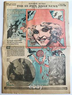 Rare Vintage 1916 Halloween Days Newspaper Page Witches/pumpkins Great Graphics