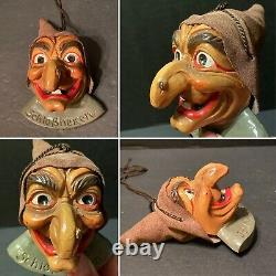 Rare Vintage Allemand Figural Halloween Décoration Snaggle Tooth Witch Schlobhexen