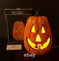 Rare Vintage Céramique Jack O Lanterne Halloween Light 9'' Lampe Dents Électriques