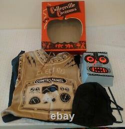 Rare Vintage Collegeville Halloween Costume Des Années 1950 Robot Electro Mask Outfit Mib