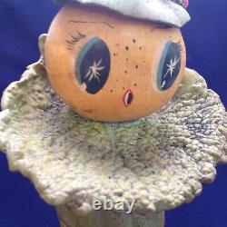 Rare Vintage Folkart Halloween Veggieman Légume Homme Femme Figurine Poupée Vieux