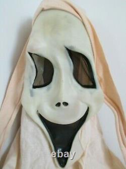 Rare Vintage Fun World Tan/white Cotton Shroud Ghostface Scream Masque D'halloween