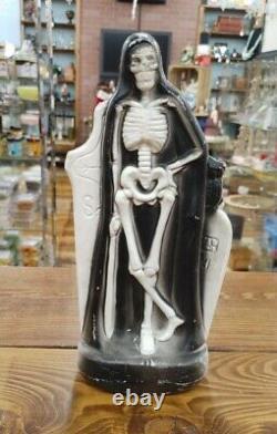 Rare Vintage Grim Reaper Halloween Blow Mold Squelette De Table General Foam