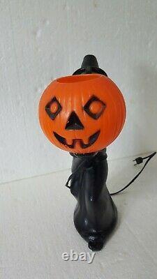 Rare Vintage Halloween Blow Mold Witch Holding Pumpkin