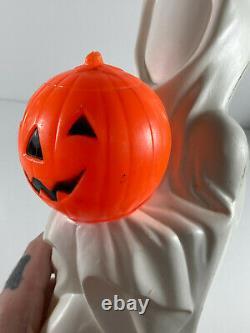 Rare Vintage Halloween Empire Blow Mold Ghost Avec Citrouille
