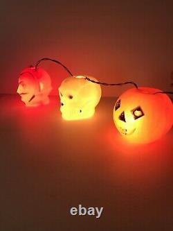 Rare Vintage Halloween Peerless Lights Devil Skull Jack O Lantern Blow Mold 1960