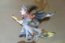 Rare Vintage Lefton Halloween Décor, Witch Riding Broom Plaque De Mur #1258