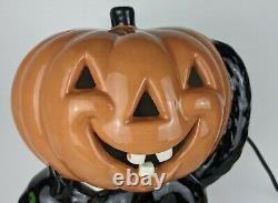 Rare Vintage Light-up Céramique Halloween Pumpkin Jack-o-lantern Sur Black Cat Jol