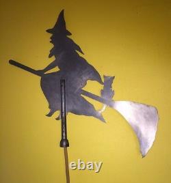 Rare Vintage Sorcière Avec Équitation Cat Broomstick Originale En Métal Girouette