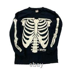Rare Vtg 1997 Skeleton 3mm À Manches Longues T Glow In Dark Large USA Aop