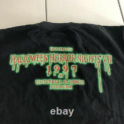 Rare Vtg Années 90 1997 Halloween Horror Nights VII T Shirt Mens L Universal Studios