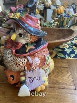 Rare Vtg Halloween 1995 Harvest Witch Owl Cookie Jar Jack-o-lantern Htf 12 X 11