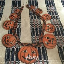 Rayons! Antique 1930s Suspension Pumpkin 62 Garland Double Face Halloween