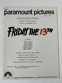 Vendredi Le 13 Vintage Rare Press Kit 1980 Jason Horror Sci Fi Movie Halloween