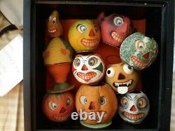 Vieille Halloween Rare Citrouilles En Papier Allemand Des Années 1930