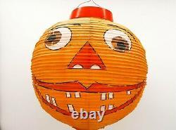 Vieille Halloween Smileing Pumpkin Honeycomb Paper Lantern 1920s 1960s Rare