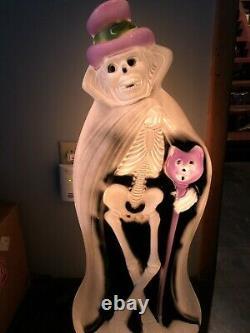 Vieille Moule Blow Rare Halloween Squelette W Cat Cane Squelette Cape Hat Ghoul