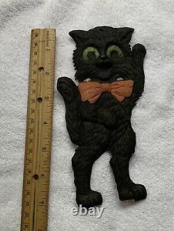 Vieux Halloween Allemand Die Cut The Dancing Cat. Rare