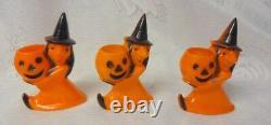Vintage 3 Sorcières Avec Citrouilles Halloween Hard Plastic Candy Container Toys Rare