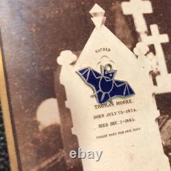 Vintage Allemand Rare 935 Silver Enamel Bat Halloween Charm Bracelet