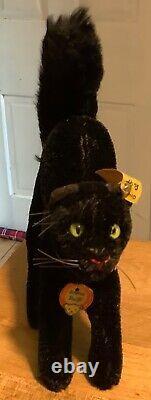 Vintage Allemand Rare Steiff Halloween Scaredy Cat Avec Toutes Les Cartes D'identité Miniature 5 Tall