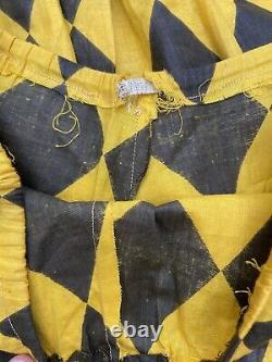 Vintage Années 1920 Harlequin Halloween Costume Set Bloomers Hat Ruffle Bells 20s Rare
