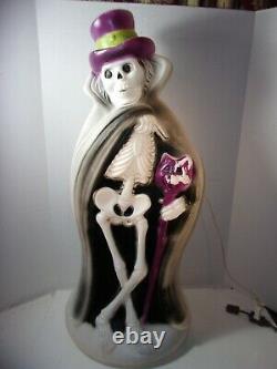 Vintage Blow Mold Rare Halloween 32 Squelette Cape Cat Cane Hat Ghoul