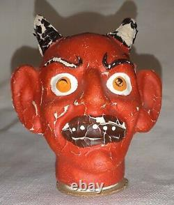 Vintage Halloween Allemand Candy Container 1920's Rare Devil Head