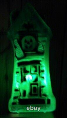 Vintage Halloween Blow Mold Light Up Rare Green Haunted House