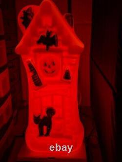 Vintage Halloween En Plastique Blow Mold Light Up Rare Haunted House Mansion 16.5