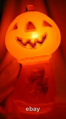 Vintage Halloween Jack-o-lanterne Moule Avec Sorcière Sur Haystack Rare