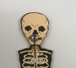 Vintage Halloween Skeleton Paper And Wood Noisemaker Merri Lei Ny Rare