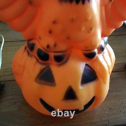 Vintage Rare Chouette D'halloween Sur Pumpkin Moule Avec Lumière 13,5 Haut