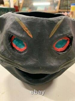 Vintage Rare Halloween Paper Mache Black Cat Candy Jack O Lantern With Insert