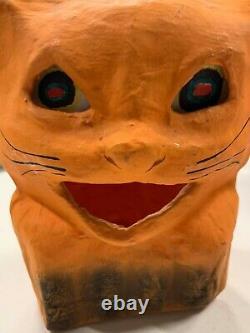 Vintage Rare Halloween Paper Mache Orange Cat Candy Jack O Lantern With Insert