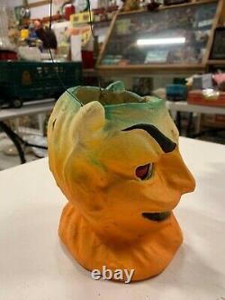 Vintage Rare Halloween Paper Mache Yellow Devil Candy Jack O Lantern With Insert