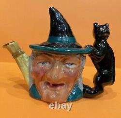 Vintage & Rare Halloween Witch & Black Cat Thorley Tea Pot Angleterre Staffordshire