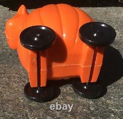 Vintage Rare1950's Rosbro Halloween Pumpkin Cat Roller Candy Container