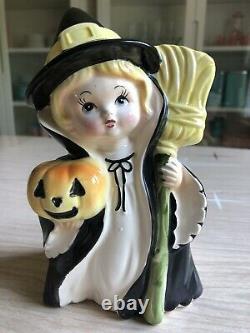Vintage Relpo Halloween Witch Girl Planter Japon Figurine Rare