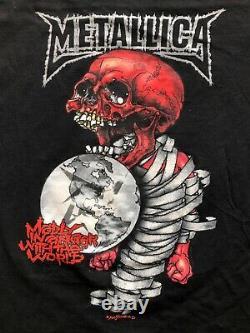 Vintage Tour Metallica Pushead Rock Band T Shirt Homme Taille M Rare