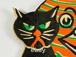 Vtg Années 1930 Beistle Halloween Embossed Diecut Rare Black Cats Lantern Moon Man