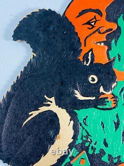 Vtg Années 1930 Beistle Halloween Embossed Diecut Rare Squirrel Own Moon Man