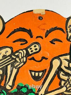 Vtg Années 1930 Beistle Halloween Embossed Diecut Skeletons Moon Saxophone Banjo Rare