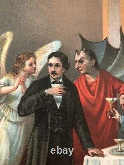 Vtg Devil Decorative Litho Halloween Rare Evil Dark Art Goth Death Mystic Demon