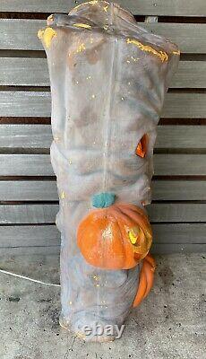 Vtg Rare 35 Blow Mold Spooky Arbre D'halloween Lumière J-o-l Mousse En Plastique De Citrouille