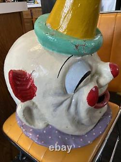 Vtg Rare Barnums Carnival Nouveautés Papier Antique Mache Masque Cirque Clown