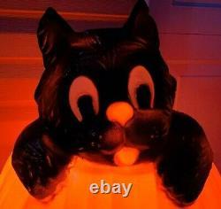 Vtg Rare Halloween Tpi Sorcière Citrouille Et Black Cat En Plastique Lighted Blow Mold 26