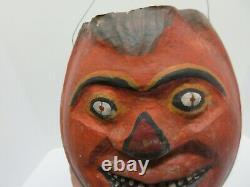 Vtg Rare Papier Mache Halloween Jack O Lantern Pumpkin Candy Container Bucket
