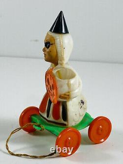 Vtg Rosbro Rosen Rare Halloween Sorcière Jouet À Tirer Un Joli Pot De Bonbons