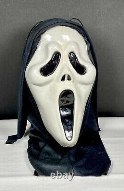 Vtg Scream Ghostface Mask Bust Halloween Décoration Grandeur Nature Illuminer Les Yeux Rares